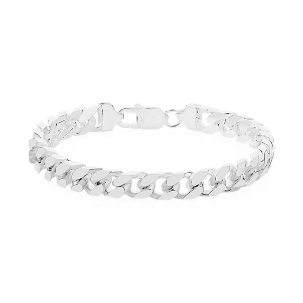 Silver 21cm Solid Curb Bracelet