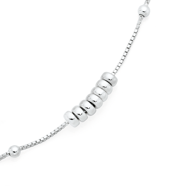 Silver 25cm 7 Lucky Rings Anklet
