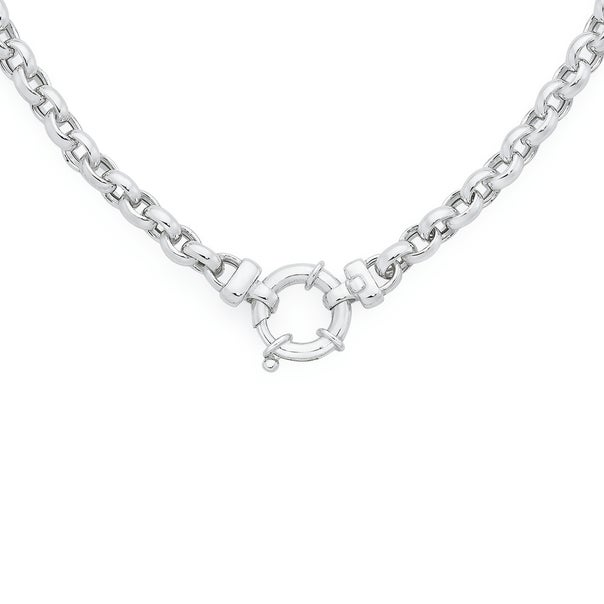Silver 50cm Oval Belcher With Bolt Clip Necklace