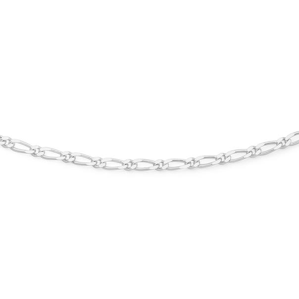 Silver 55cm 1+1 Figaro Chain