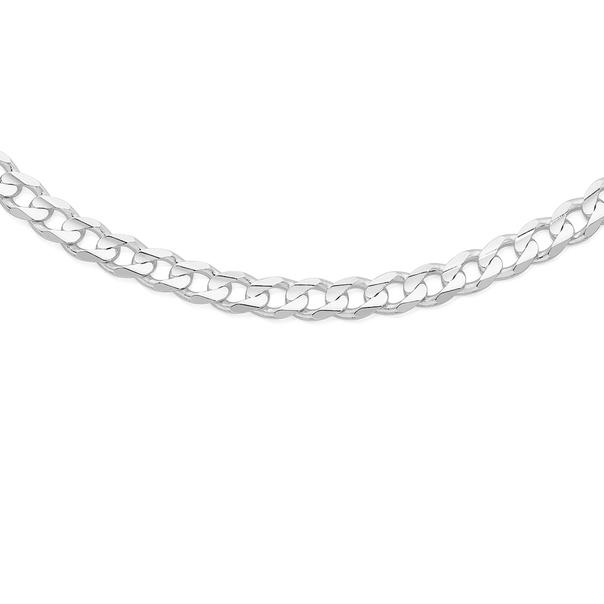 Silver 55cm Diamond Cut Bevelled Curb Chain