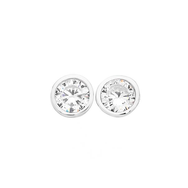 Silver 5mm Bezel Set CZ Stud Earrings