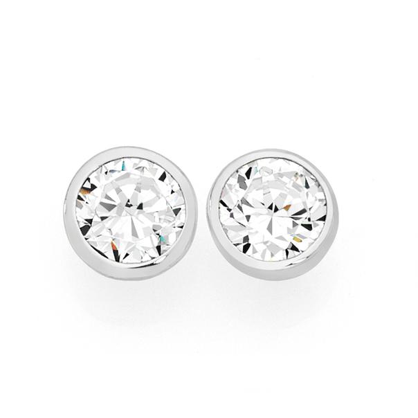 Silver 6.5mm CZ Bezel Set Stud Earrings