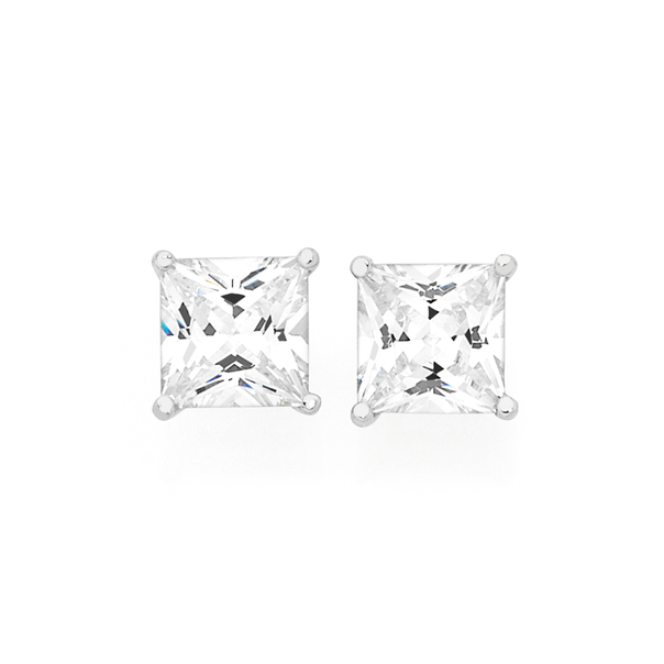 Silver 6mm CZ Claw Set Square Stud Earrings