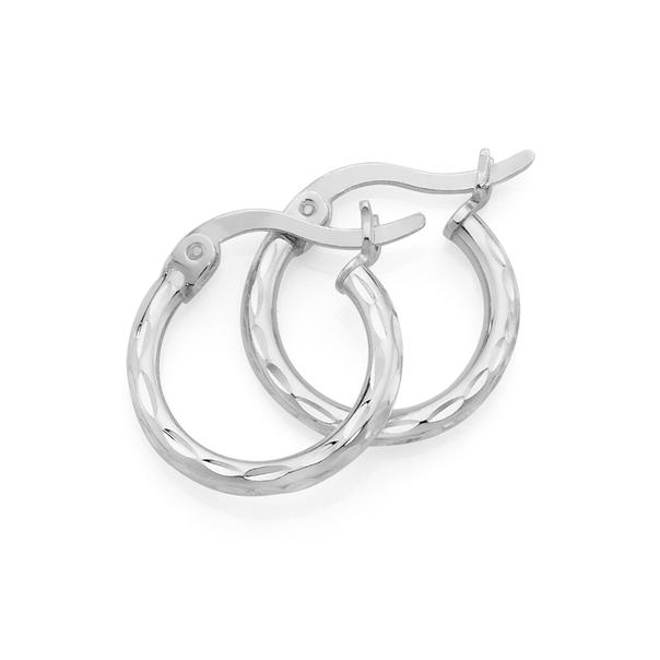 Silver 7mm Diamond Cut Hoop Earrings