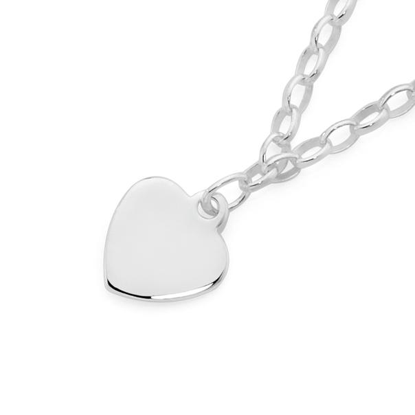 Silver Belcher Childrens with Heart Charm Bracelet