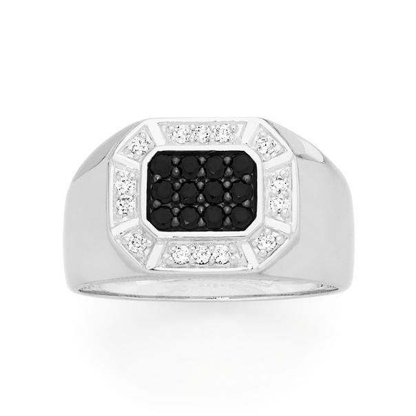 Silver Black Cz Pave Centre Rectangle Cz Border Ring Size W