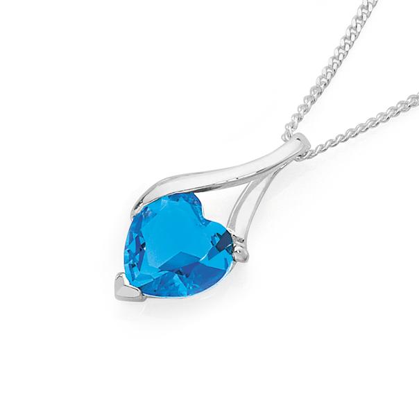 Silver Blue Cubic Zirconia Heart Wishbone Pendant