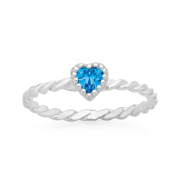 Silver Blue CZ Twist Heart Friendship Ring