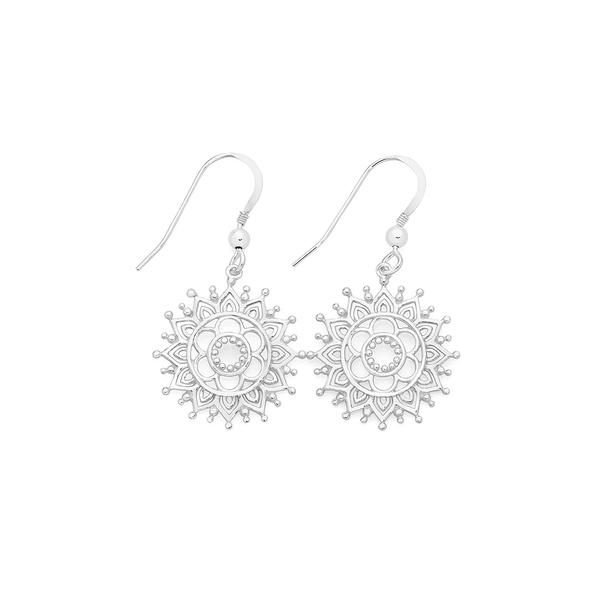 Silver Boho Fancy Flower Cutout Drop Earrings