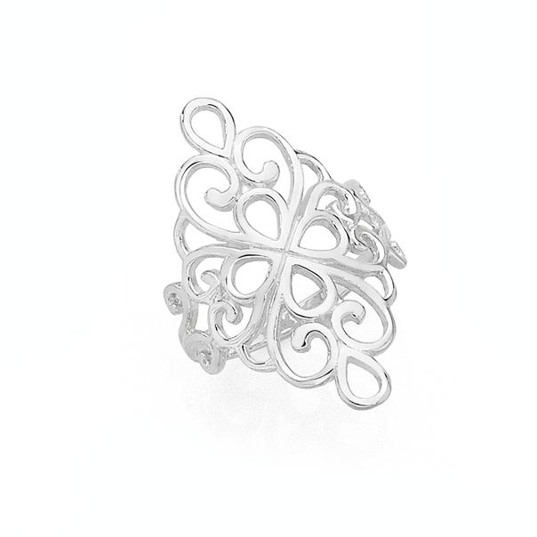 Silver Boho Long Fancy Scroll Ring Size O