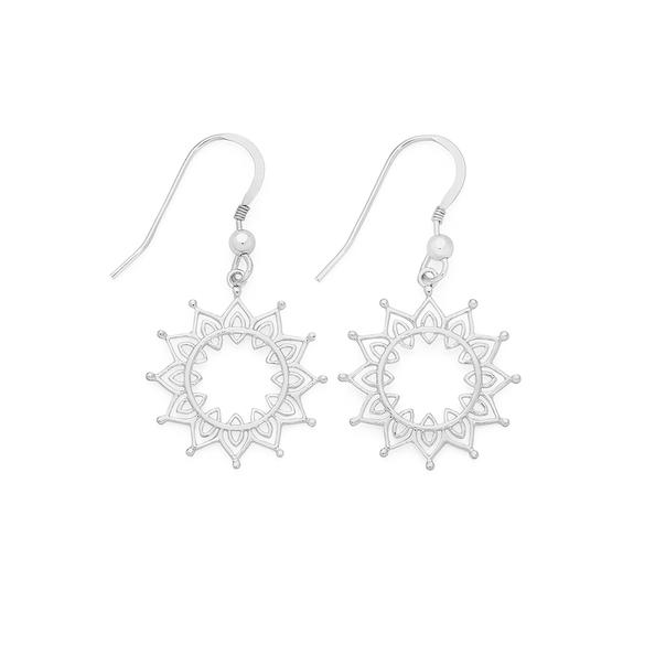 Silver Boho Sunburst Drop Earrings