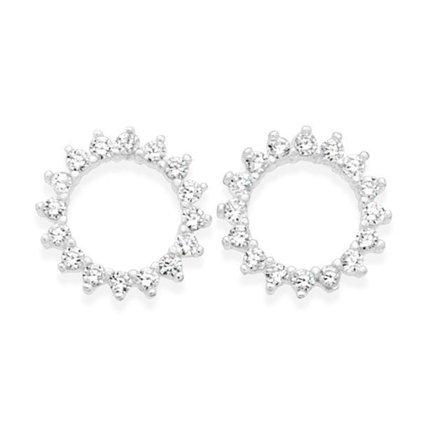 Silver Celestial CZ Circle Stud Earrings