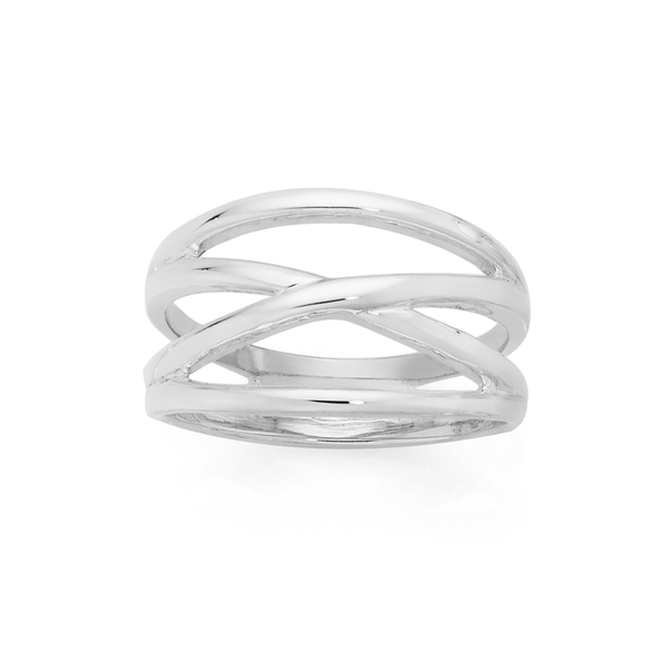 Silver Crossover Dress Ring