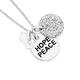 Silver Crystal Disc Hope/Peace/Dove Pendant