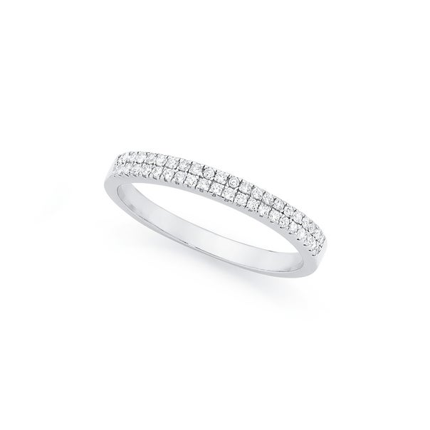 Silver Cubic Zirconia Double Row Friendship Ring