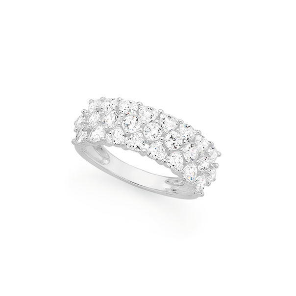 Silver Cubic Zirconia Fancy Multi Round & Triangle Dress Band Ring