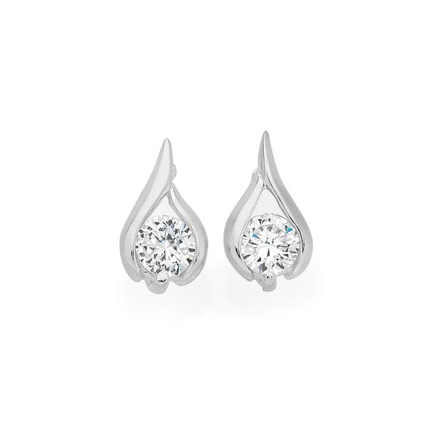 Silver Cubic Zirconia In Small Teardrop Stud Earrings