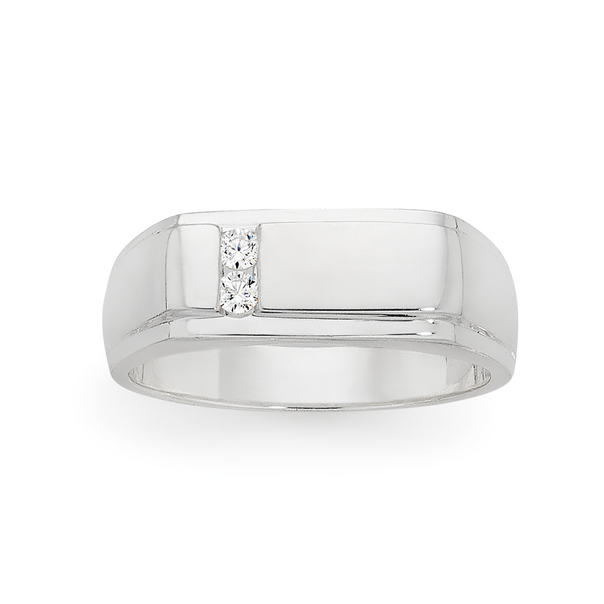 Silver Cubic Zirconia On Side Rectangle Signet Ring