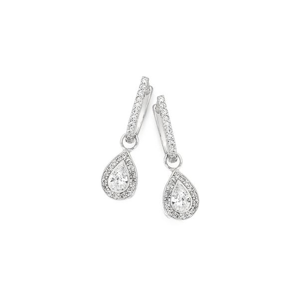 Silver Cubic Zirconia Pear Fancy Drop Earrings