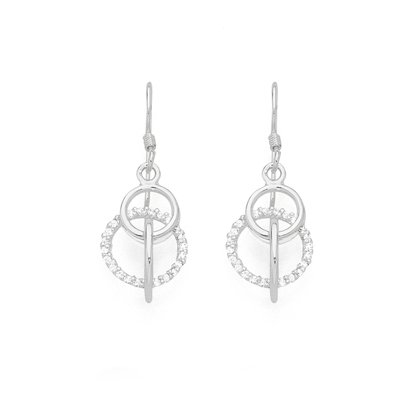 Silver CZ 3 Circles Entwined Galaxy Drop Earrings