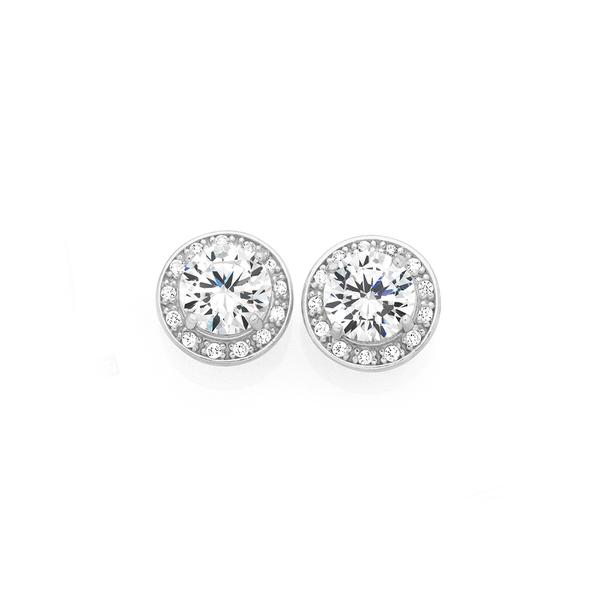 Silver CZ Cluster Stud Earrings