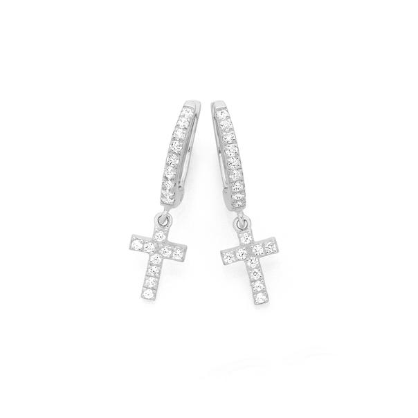 Silver Cz Cross On Cz Huggie Earrings