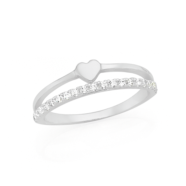 Silver CZ Double Line Heart Ring