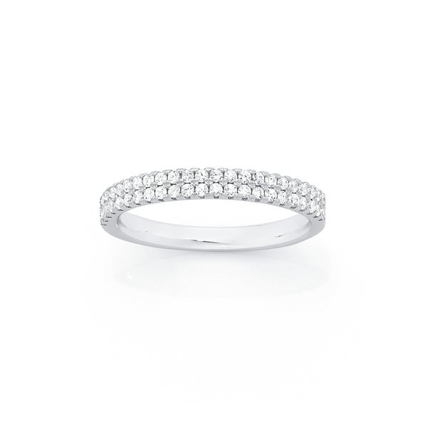 Silver CZ Double Row Friendship Ring