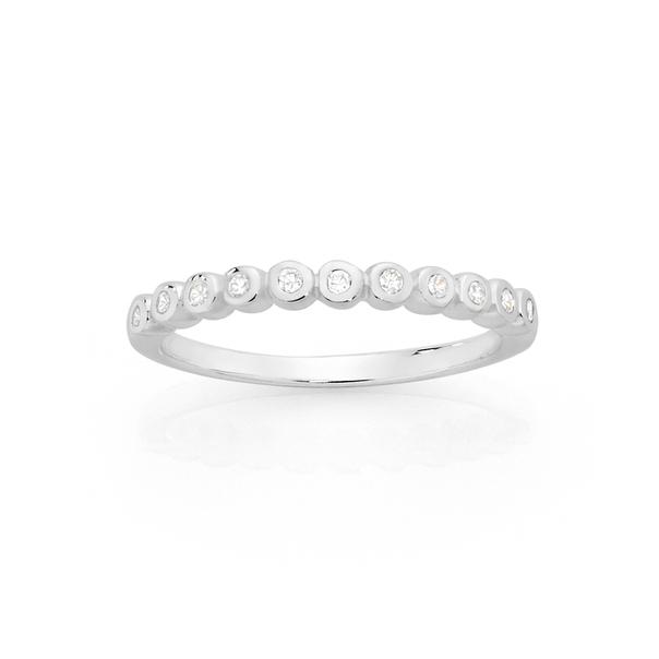 Silver CZ Fine Bezel Stacker Ring Size O