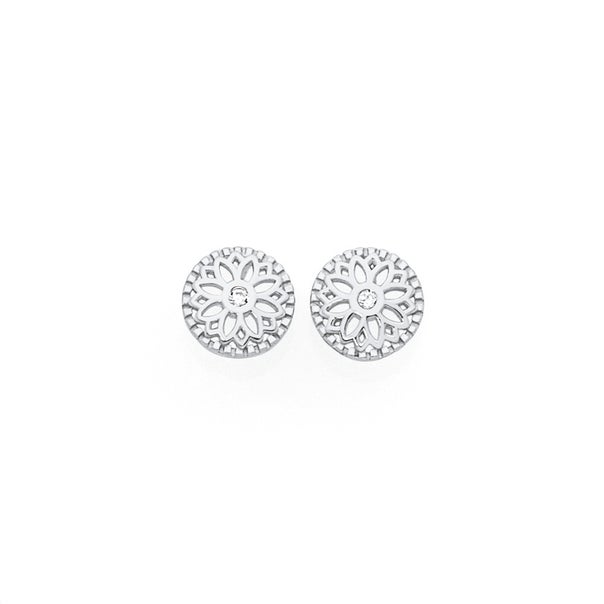Silver CZ Flower Cut Out In Circle Stud Earrings