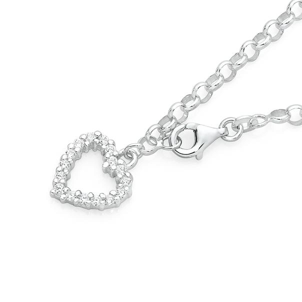 Silver CZ Heart Belcher Bracelet