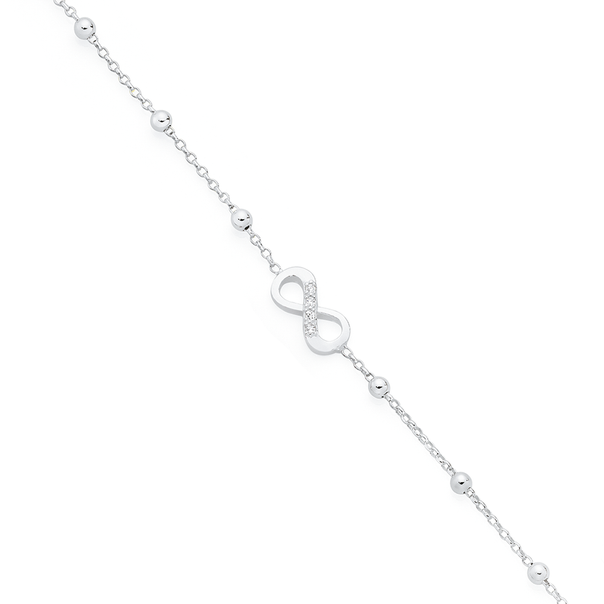 Silver CZ Infinity Anklet
