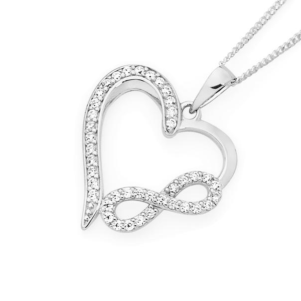 Silver Cz Infinity & Open Heart Pendant