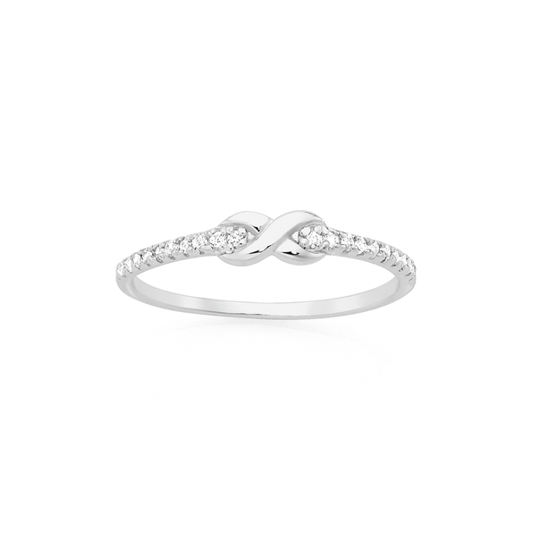 Silver CZ Infinity Stacker Ring