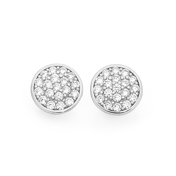 Silver Cz Pave Round Stud Earrings