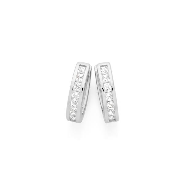Silver CZ Princess Cut Channel Set Huggie Earrings
