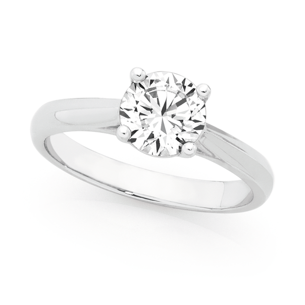 Silver CZ Round 4 Claw Solitaire Ring Size O