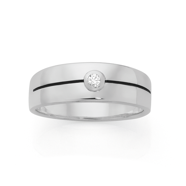Silver CZ Round Bezel Line Signet Ring U
