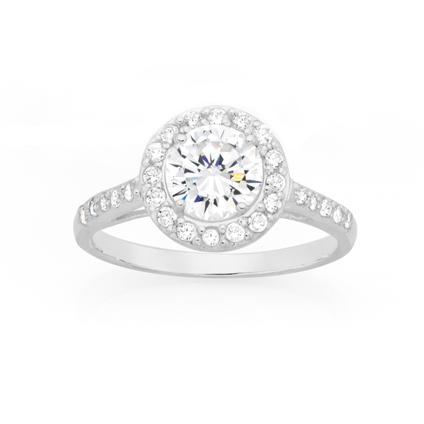 Silver CZ Round Cluster Ring