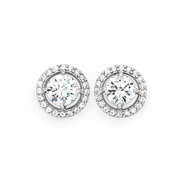 Silver CZ Round Halo Stud Earrings