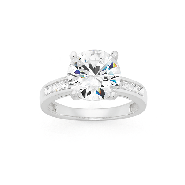Silver CZ Solitaire Dress Ring