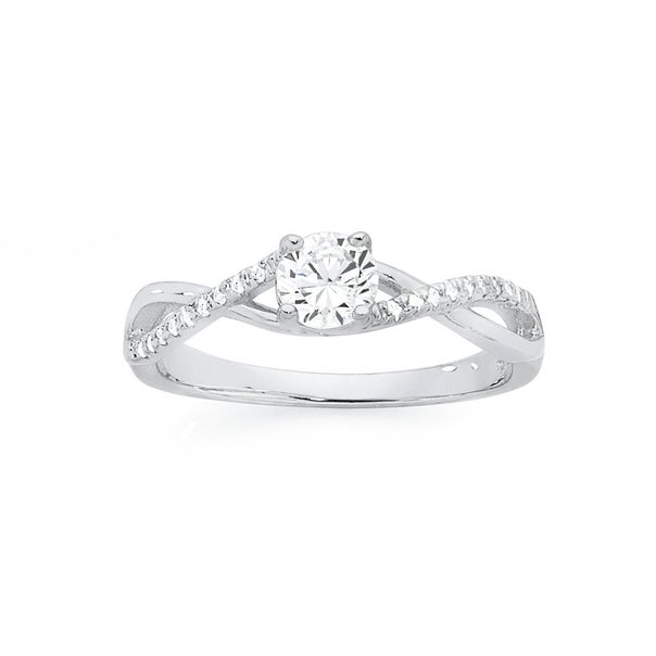 Silver CZ Solitaire Twist Ring