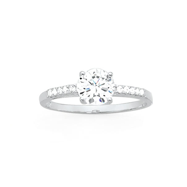 Silver CZ Solitaire with Side CZ Ring