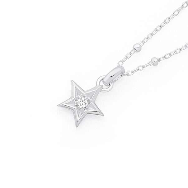 Silver CZ Star On Beaded Chain Necklet