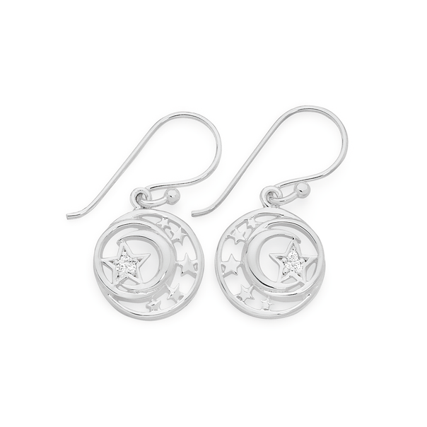Silver Cz Star With Moon & Stars Earrings