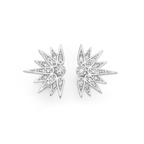Silver Cz Starburst Celestial Stud Earrings