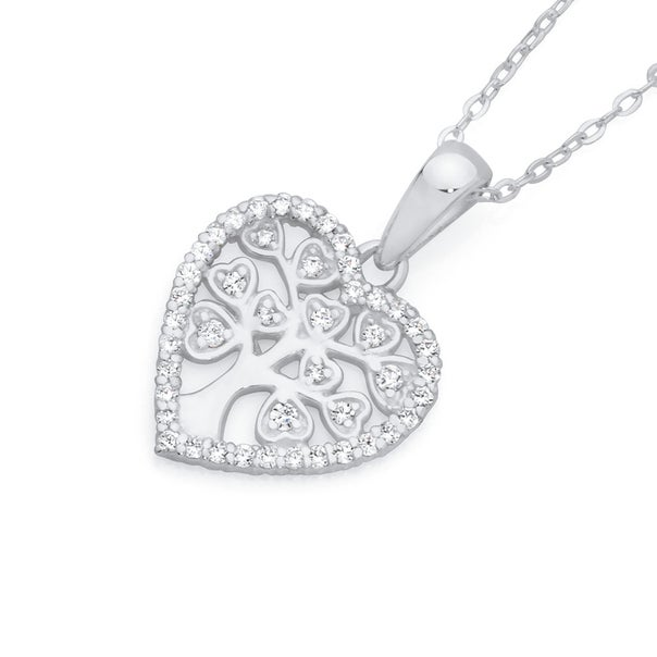 Silver CZ Tree Of Life In Flat Heart Pendant