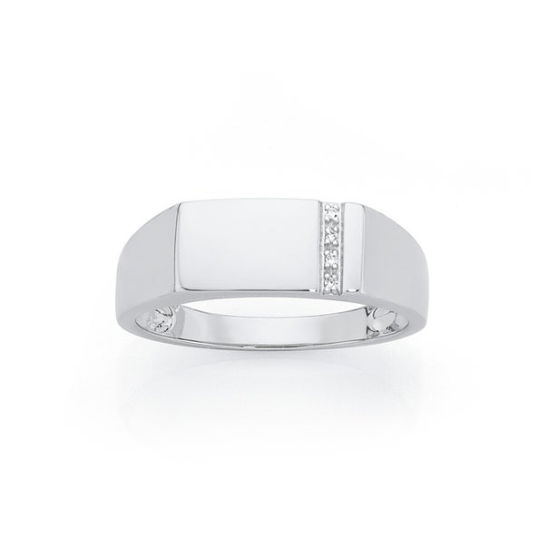 Silver CZ Vertical Line On Side Ring