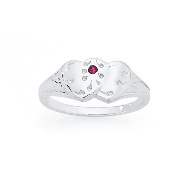 Silver Double Heart Red CZ Signet Ring